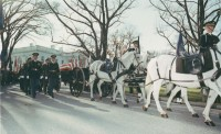 JFK's body leaves the White House for the last time. Kennedy Library Photo.